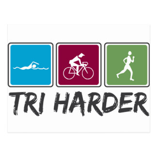 Tri Harder (Triathlon) Postcard