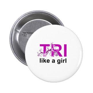 tri like a girl 6 cm round badge