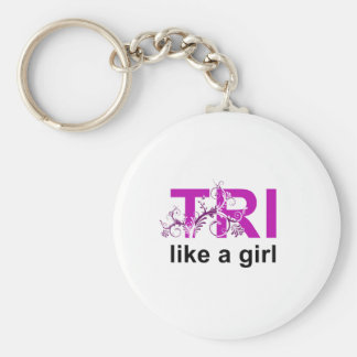 tri like a girl basic round button key ring