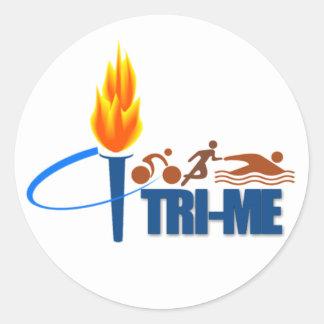 TRI-ME TRIATHLETE - SWIM / RUN / BIKE ROUND STICKERS