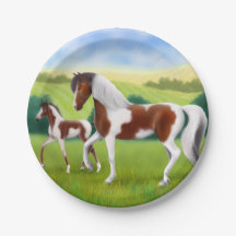 Tri Paint Mare and Foal Horse Paper Plates 7 Inch Paper Plate