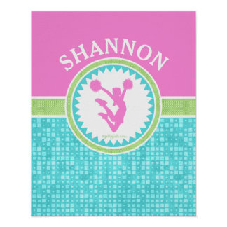 Tri-Pastel Color Cheerleading With Aqua Tile Poster