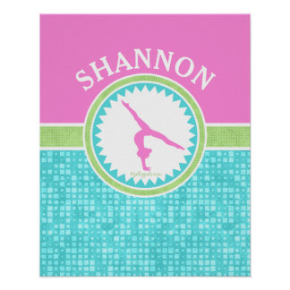 Tri-Pastel Color Gymnastics With Aqua Tile Poster