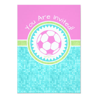 Tri-Pastel Color Soccer With Aqua Tile Card
