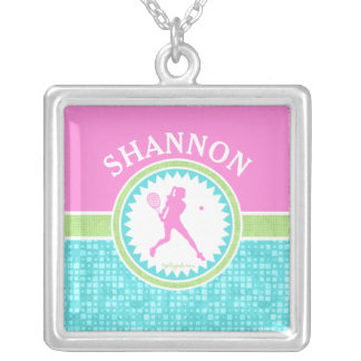 Tri-Pastel Color Tennis With Aqua Tile Silver Plated Necklace