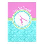 Tri-Pastel Colour Gymnastics With Aqua Tile 13 Cm X 18 Cm Invitation Card