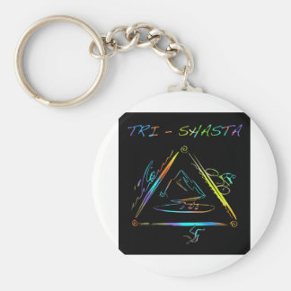 Tri Shasta Triathalon Logo Basic Round Button Key Ring