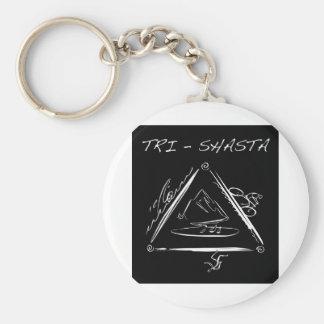 Tri-Shasta-Triathalon-Logo  (White on Black) Key Chains