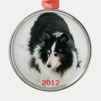 Tri Sheltie in Snow Template Christmas Ornament