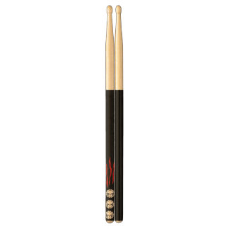 Tri-skull Black Red scratch Drumsticks