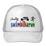 TRI Triathlon Swim Bike Run BLACK Bumper Design Trucker Hat