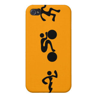 TRI Triathlon Swim Bike Run BLACK Bumper Design iPhone 4 Cover