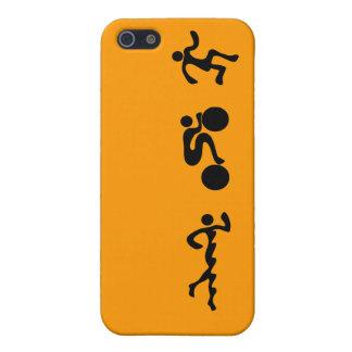 TRI Triathlon Swim Bike Run BLACK Bumper Design iPhone 5/5S Cover