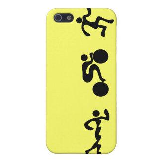 TRI Triathlon Swim Bike Run BLACK Bumper Design iPhone 5/5S Covers