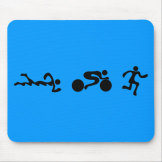 TRI Triathlon Swim Bike Run BLACK Bumper Design Mouse Mat
