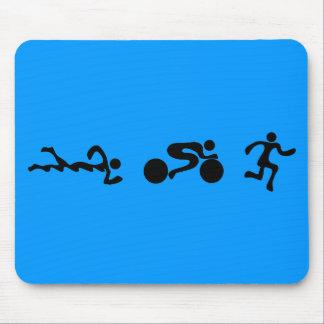 TRI Triathlon Swim Bike Run BLACK Bumper Design Mouse Mat