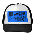 TRI Triathlon Swim Bike Run BLACK Squares Design Trucker Hat