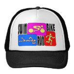 TRI Triathlon Swim Bike Run BRIGHT Square Design Mesh Hats