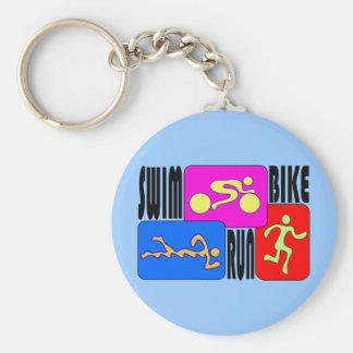 TRI Triathlon Swim Bike Run BRIGHT Square Design Basic Round Button Key Ring