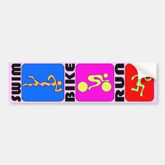 TRI Triathlon Swim Bike Run COLOR Bumper Design Bumper Sticker