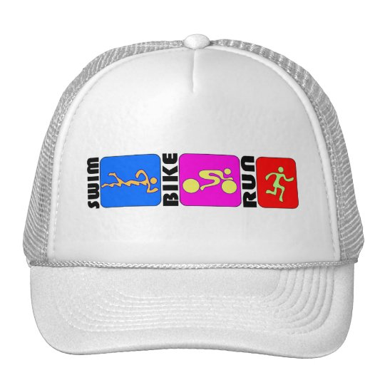 TRI Triathlon Swim Bike Run COLOR Bumper Design Cap