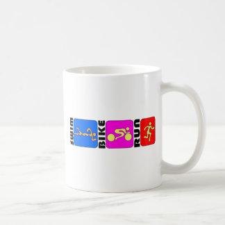 TRI Triathlon Swim Bike Run COLOR Bumper Design Coffee Mug