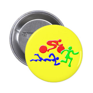 TRI Triathlon Swim Bike Run COLOR Figures Design 6 Cm Round Badge