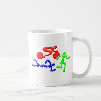 TRI Triathlon Swim Bike Run COLOR Figures Design Coffee Mug