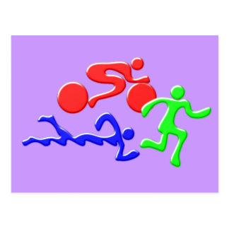 TRI Triathlon Swim Bike Run COLOR Figures Design Postcard