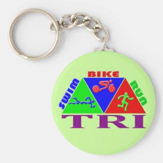 TRI Triathlon Swim Bike Run PYRAMID Design Basic Round Button Key Ring