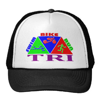 TRI Triathlon Swim Bike Run PYRAMID Design Mesh Hat