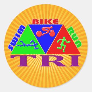 TRI Triathlon Swim Bike Run PYRAMID Design Round Sticker