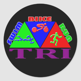 TRI Triathlon Swim Bike Run PYRAMID Design Round Stickers