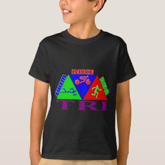 TRI Triathlon Swim Bike Run PYRAMID Design T-Shirt