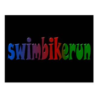 TRI Triathlon Swim Bike Run RAINBOW Design Postcard