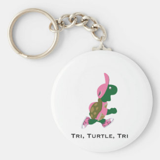 Tri, turtle, tri basic round button key ring