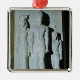 Triad of Menkaure Silver-Colored Square Decoration