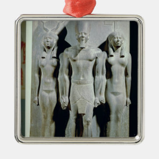 Triad of Menkaure  with the goddess Hathor Silver-Colored Square Decoration