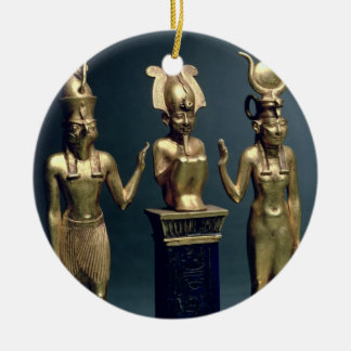 Triad of Osorkon II: Osiris flanked by Isis and Ho Round Ceramic Decoration