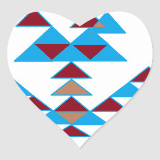 Triangle Bird Design Turquoise and Dark Red Heart Sticker