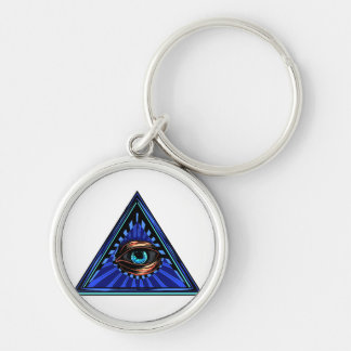 Triangle blue with eye Eye of Providence Silver-Colored Round Key Ring