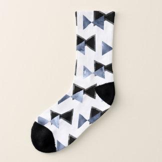 Triangle bowtie watercolor marble print socks