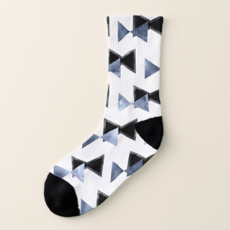 Triangle bowtie watercolor marble print socks 1