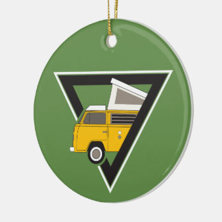 triangle classic yellow bus christmas ornament