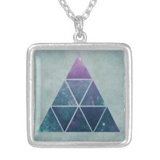 Triangle Galaxy Silver Plated Square Necklace