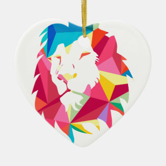 Triangle Geomatric Lion Ceramic Heart Decoration