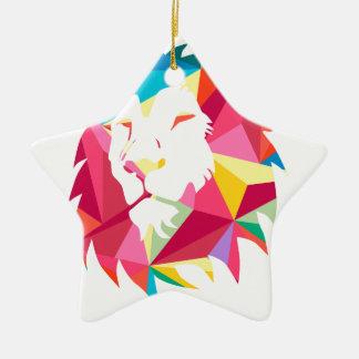 Triangle Geomatric Lion Ceramic Star Decoration