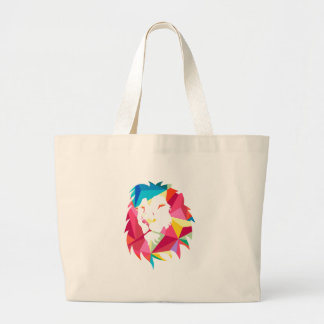 Triangle Geomatric Lion Large Tote Bag