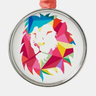 Triangle Geomatric Lion Silver-Colored Round Decoration