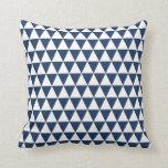 Triangle Geometric Pattern Navy Blue Cushion